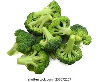 a bunch of broccoli isolated on white