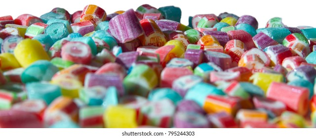 Bunch of candies close up