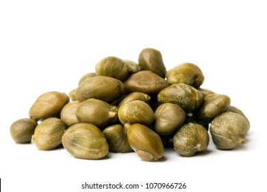 Bunch of capers on a white background isolated.