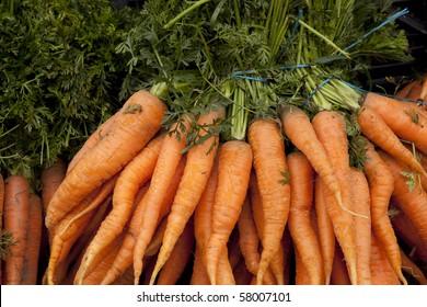 Bunch of carrots at outdoor market