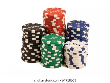 Bunch of casino chips isolated on white
