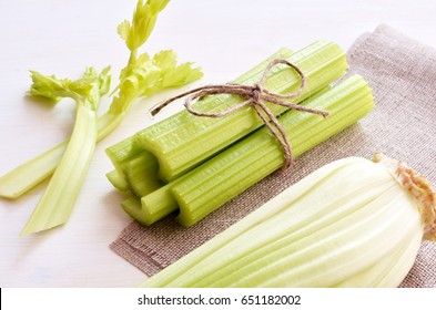 bunch of celery stalks
