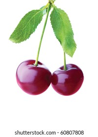 Bunch of cherries on a white background