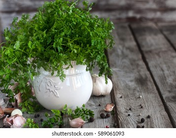 Bunch of chervil on chopping desk with garlic and pepper. Copy space background.