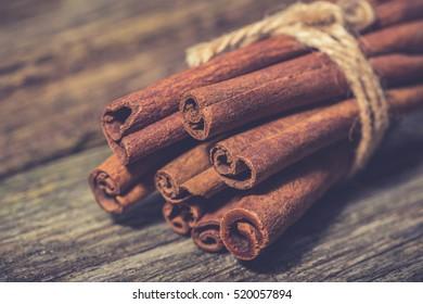 Bunch of cinnamon sticks. Christmas time