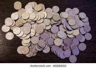 bunch of coins Russian rubles