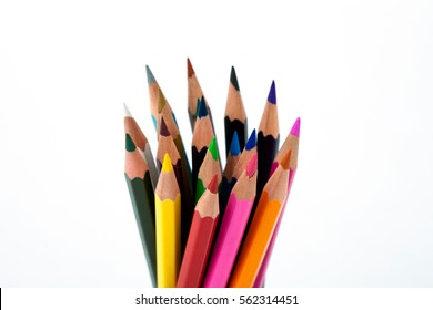 Bunch of colored pencils on white background