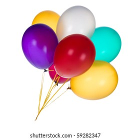 Bunch of colorful balloons against a white background.