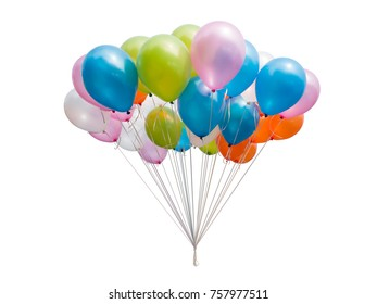 Bunch of colorful balloons isolated on white background .