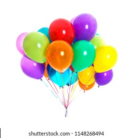 Bunch of colorful balloons on white background. Festive decor