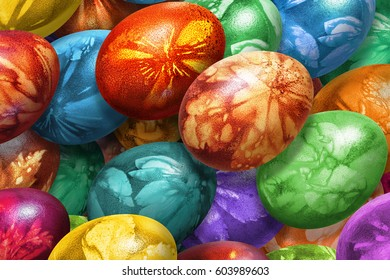 Bunch of Colorful Easter Eggs Decorated with Leaves Imprints