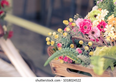 Bunch of Colorful Flowers in the wooden Basket of vintage bicycle, Pastel Valentine's day Background