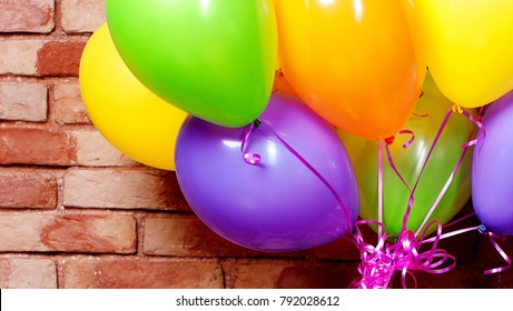Bunch of colorful helium balloons