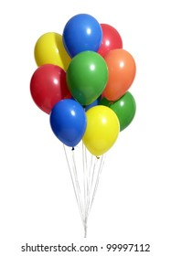 a bunch of colorful helium balloons with clipping path on white 2