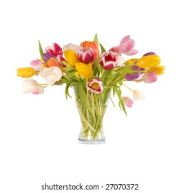 Bunch of colorful spring tulips in a vase