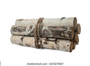 Bunch of cut firewood isolated on white