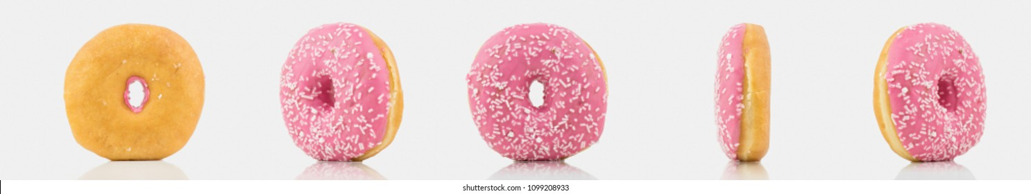 Bunch Of Delicious Pink Colored Donut On White Background With White Chocolate On It.Isolated On White