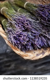 Bunch of dried lavender i a basket