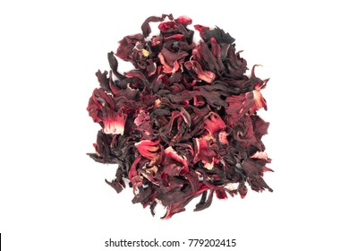 Bunch of dry hibiscus tea isolated on white background, top view