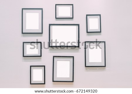 Bunch Empty Black Picture Frames On Stock Photo (Edit Now) 672149320 ...