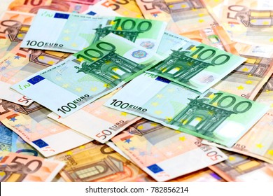 a bunch of European paper euro bills as an element of a trading system