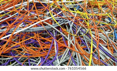 Computer Wiring   Bunch Fibers Computer Cables Stock Photo Edit Now 761054566