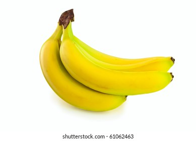bunch of five bananas on white background
