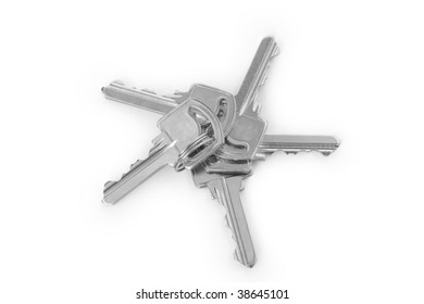 Bunch of five keys  on a white background
