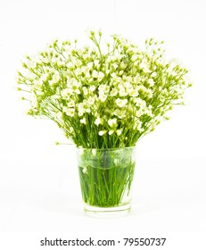 bunch of flowers in glass vitreous vase isolated over white