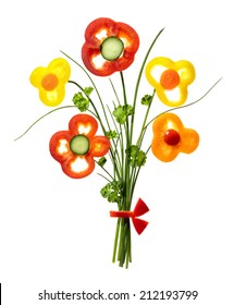 bunch of flowers from vegetables and greens on white background