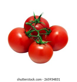 A bunch of four tomatoes isolated on white background front view