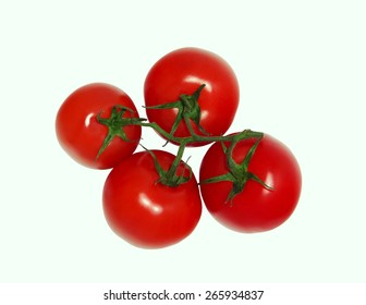 A bunch of four tomatoes isolated on white background top view