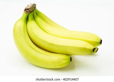 Bunch of fresh bananas, on white background.