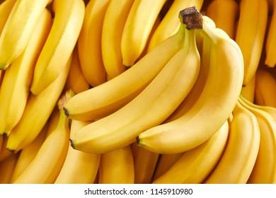 Bunch of fresh bananas in the organic food market
