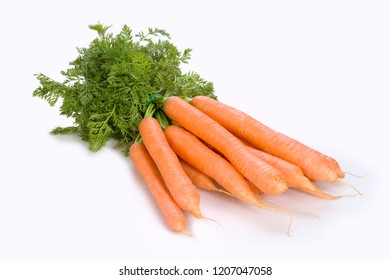 Bunch of fresh carrots on white background
