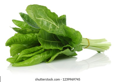 A bunch of fresh chard leaves isolated on white background. Macro, studio shot