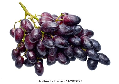 Bunch of fresh grapes isolated on white background.