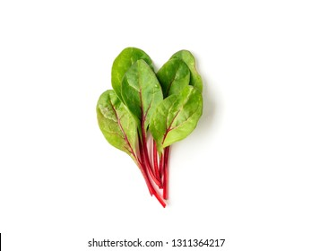 Bunch of fresh green chard leaves or mangold salad leaves on white background. Flat lay or top view fresh baby beet leaves, isolated on white background with clipping path.