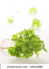 Bunch of fresh green curly parsley on white background. Selective focus