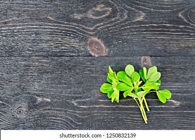 Bunch of fresh green fenugreek with white flowers on a black wooden board background