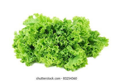 bunch of fresh green salad on a white background