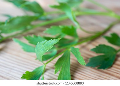 bunch of fresh lovage leaves on wooden table macro