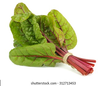 Bunch of fresh Mangold or Swiss chard leaves on a white background