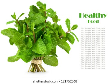 bunch of fresh mint isolated on white