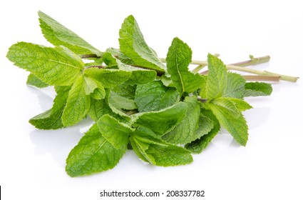 Bunch of fresh mint, isolated on white