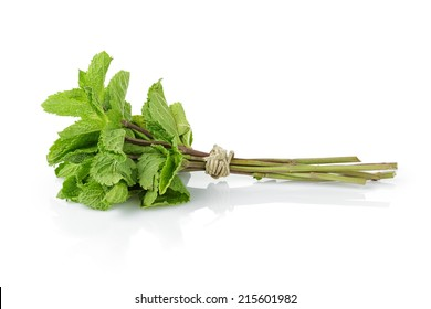 bunch of fresh mint , isolated on white background