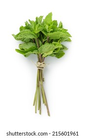 bunch of fresh mint, white background directly above