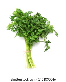 Bunch of fresh parsley isolated on white, top view