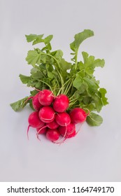 Bunch of fresh radishes. Cutout, close up.