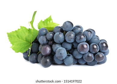 Bunch of fresh ripe juicy black grapes isolated on white